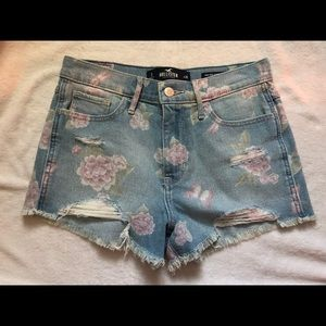 Four pairs of size 3 Hollister jean shorts
